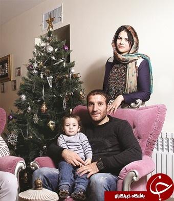 مدافع ارمنی استقلال در کنار همسر و پسرش +عکس