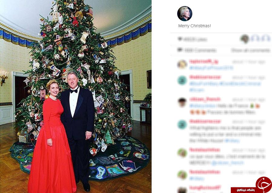 بیل و هیلاری کلینتون در جشن کریسمس+عکس
