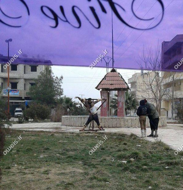 به صلیب کشیدن شیوه نوین اعدام داعشی+ عکس