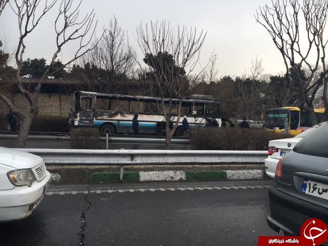 آتش سوزی اتوبوس در اتوبان نیایش /هیچ کس صدمه ندید