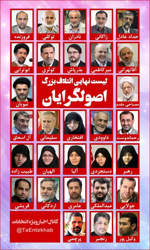 فهرست اولیه انتخاباتی ائتلاف اصولگرایان تهران