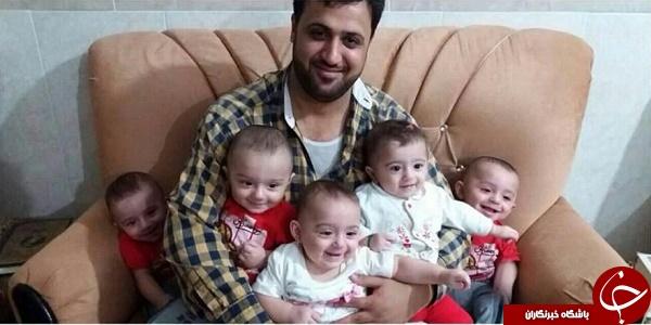 تصاویر تکان دهنده از شهید مدافع حرم و پنج قلوهایش