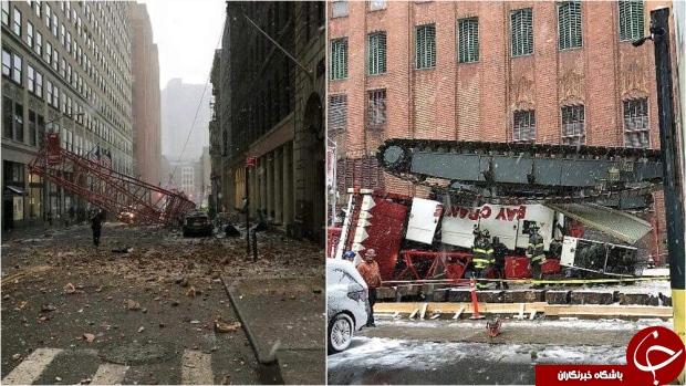 سقوط جرثقیل در نیویورک حادثه آفرید