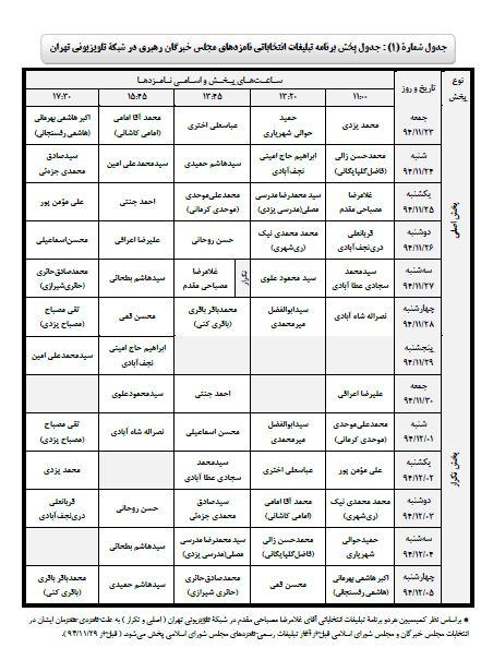 جدول برنامه های خبرگان ملت از رسانه ملی
