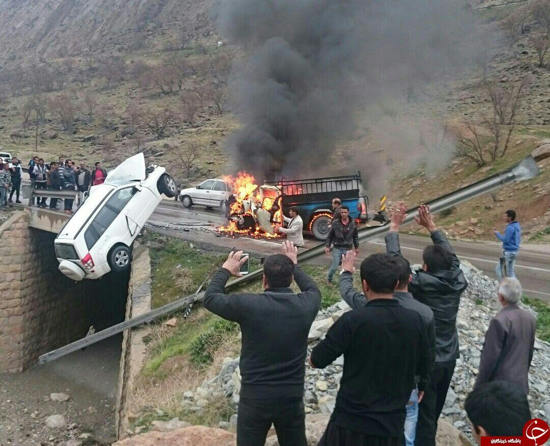 راننده ای که در آتش تصادف زنده زنده سوخت + تصاویر (+18)