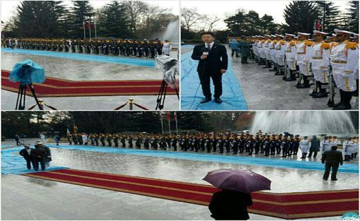دردسر هوای بارانی در استقبال از رئیس جمهور چین + تصاویر