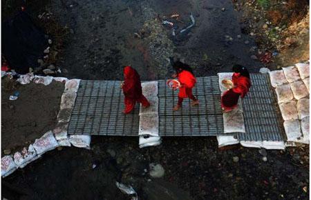 گشتی در تصاویر خبری دوشنبه 5 بهمن/ از حضور زن مسلمان در نمایشگاه مد تا به گل نشستن دو نهنگ