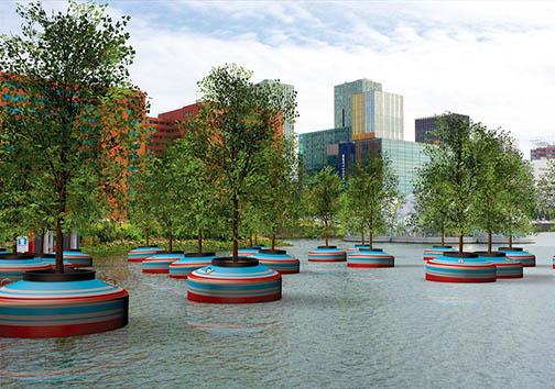 به آب انداختن جنگلهای شناور در هلند + تصاویر