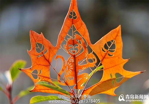 هنرنمایی روی برگ درختان + تصاویر