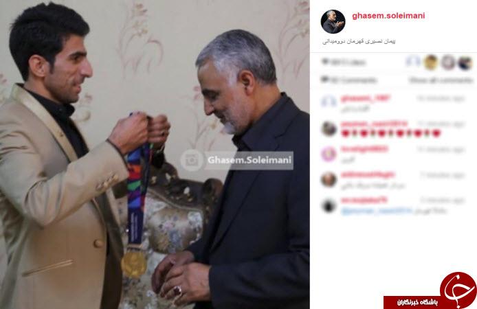 ورزشکاری که مدالش را تقدیم سردار سلیمانی کرد +عکس