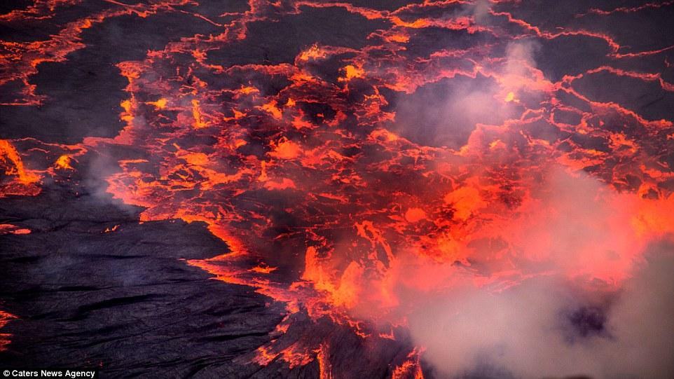 تصاویر فوقالعاده از بزرگترین دریاچه گدازه/ مواد مذاب