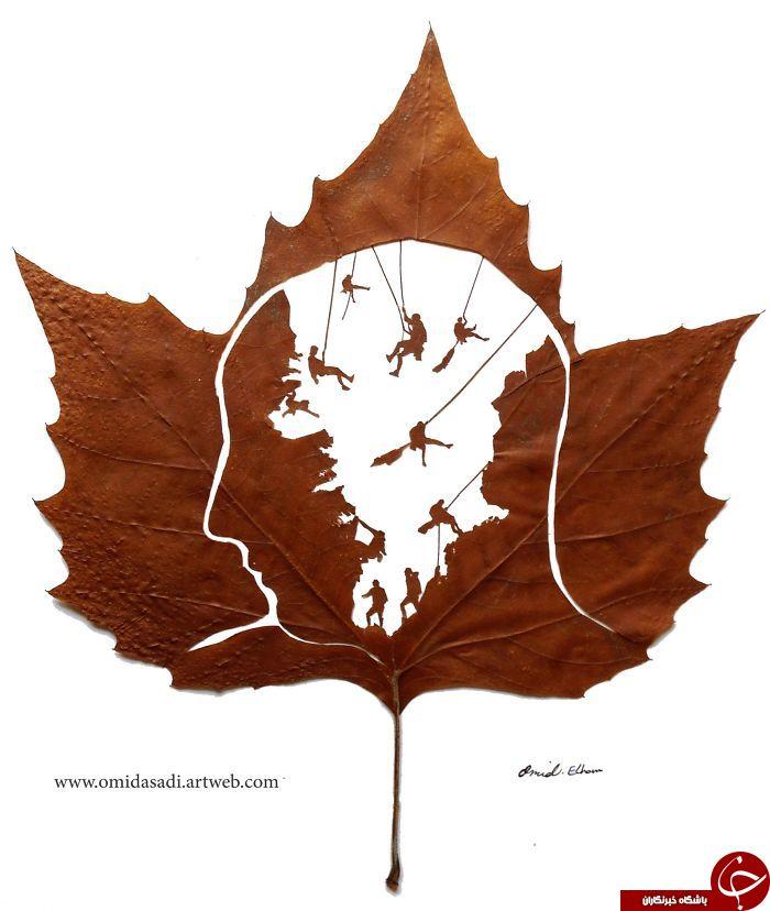 هنرمند ایرانی به برگ های پاییزی جان دوباره بخشید +تصاویر
