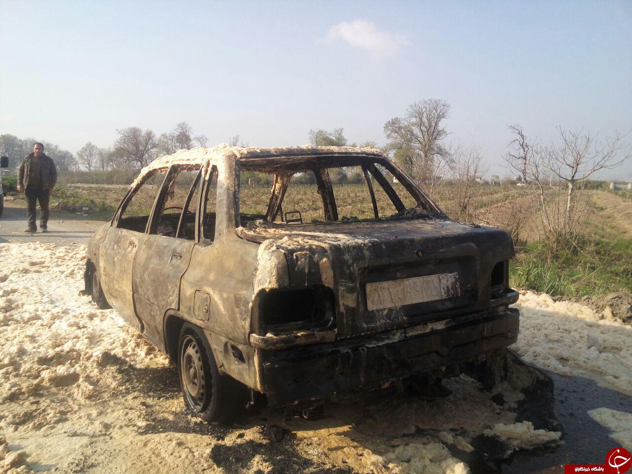 نشت گاز خودروی پراید را به آتش کشید + تصاویر