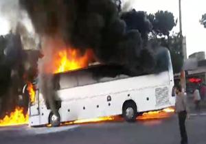 نتیجه تصویری برای اتوبوس  اتش گرفت