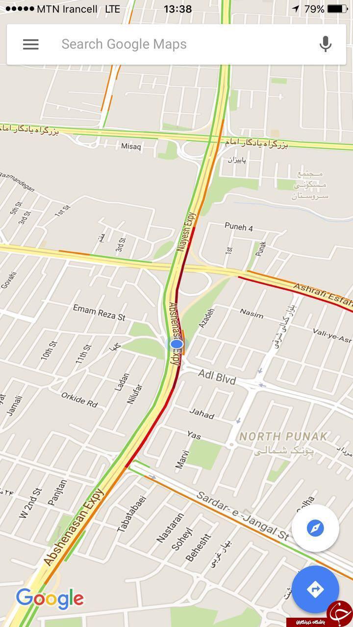مشاهده وضعیت لحظه ای ترافیک تهران در نقشه گوگل میسر شد + آموزش