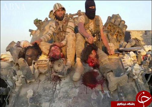 عکس یادگاری عناصر جبهة النصرة با سرهای داعشیها! + تصاویر (۱۸+)