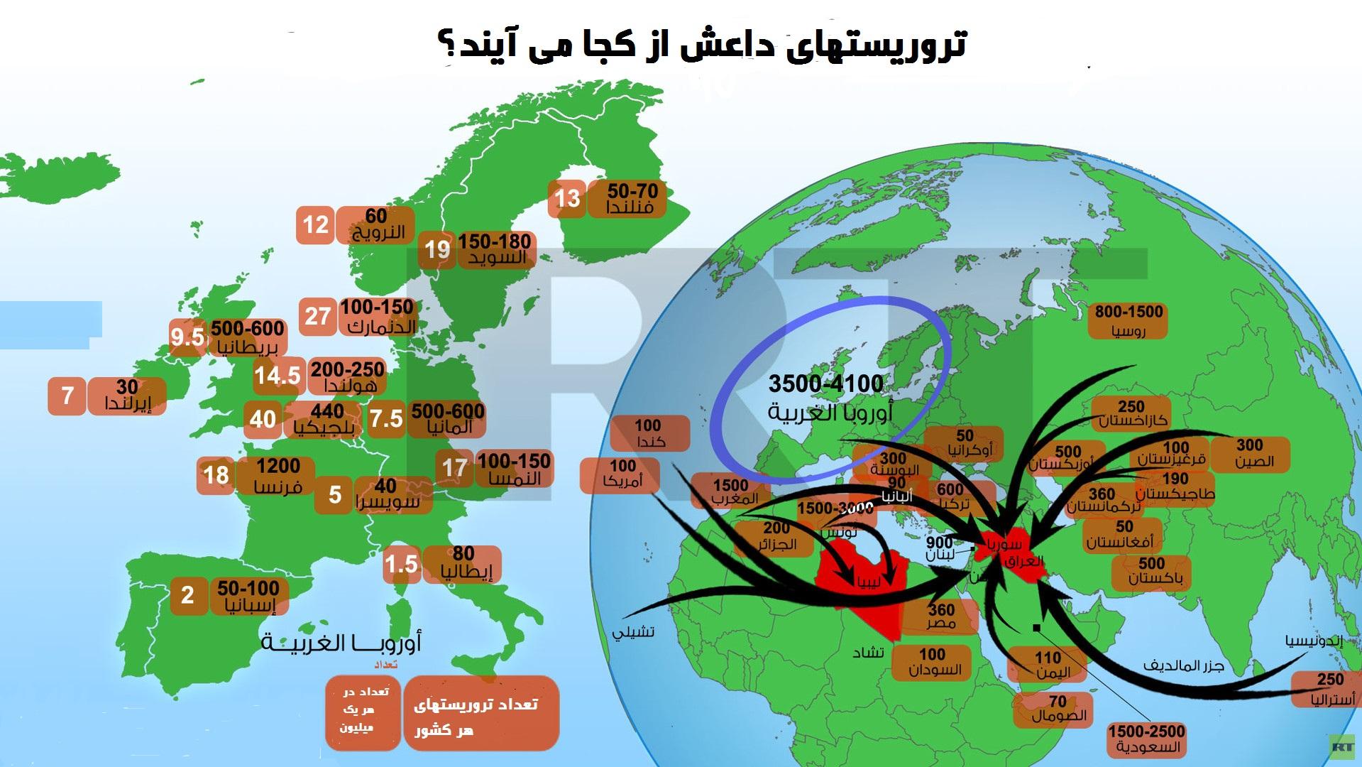 چند درصد اروپاییها داعشی هستند؟+ نقشه