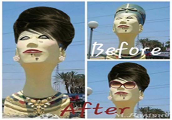 ساخت مجسمهای مضحک از ملکه زیبایی مصر + عکس