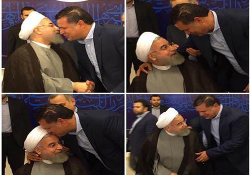 روبوسی علی دایی و رئیس جمهور روحانی همراه با تبریک موفقیت هسته ای