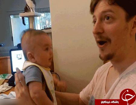 تعجب کاربران از حرف زدن نوزاد 3 ماهه + عکس