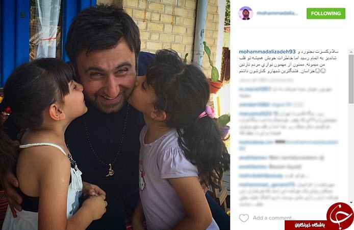 بوسه دو دختر زیبا بر گونه خواننده معروف ایرانی + عکس