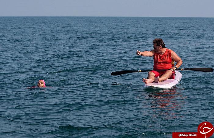 رکوردشکنی دختر ایرانی با شنا در دریای خزر +عکس