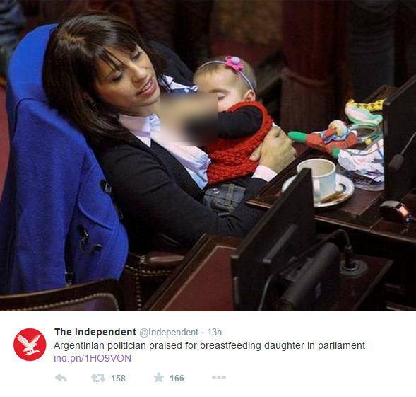 شیر دادن نماینده مجلس به نوزاد دخترش در جلسه + عکس