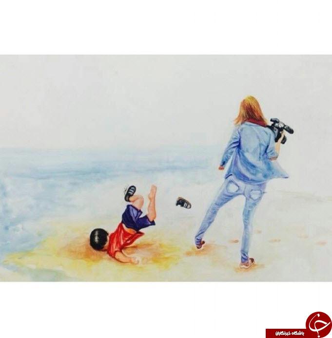 لگد خبرنگار زن به جسم بی جان آیلان 3 ساله+ عکس