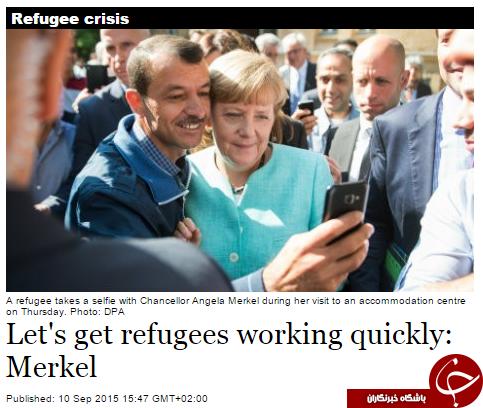 سلفی نخست وزیر آلمان و پناهجویان+ تصاویر