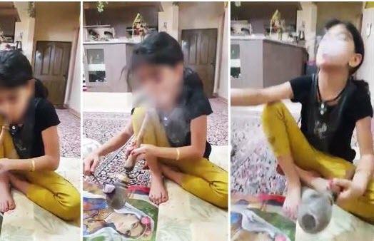 پخش فیلم مصرف تریاک توسط یک دختر بچه در شبکه های اجتماعی
