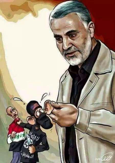 سردار سلیمانی و گوش مالی داعش+کارتون