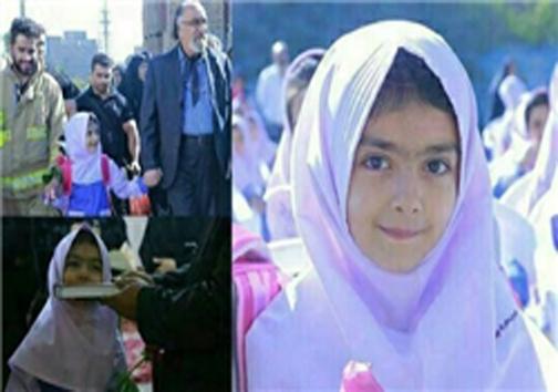 داریوش ارجمند دختر مرحوم عباسپور را تا مدرسه همراهی کرد/عکس