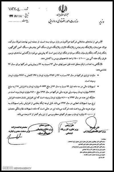 هشدار 4 وزیر به رییس جمهور +سند