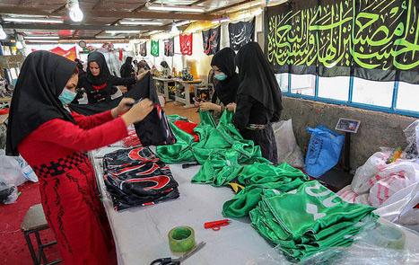 مراحل تولید  پرچم عزاداری ابا عبدالله الحسین (ع)