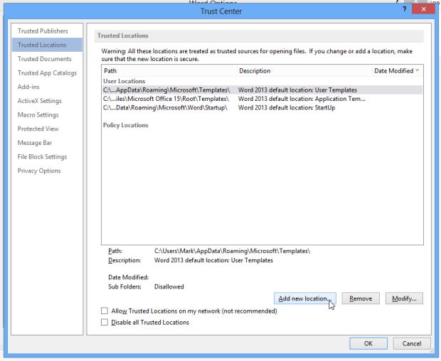 باز کردن فایلهای مسدود شده در آفیس 2013