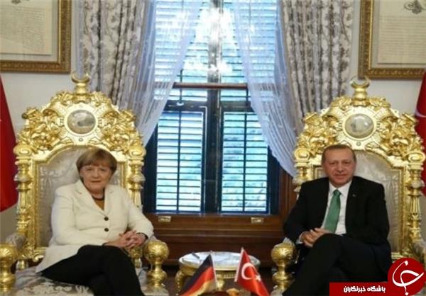 صندلی طلا اردوغات جایگزین فرش قرمز برای مرکل+عکس