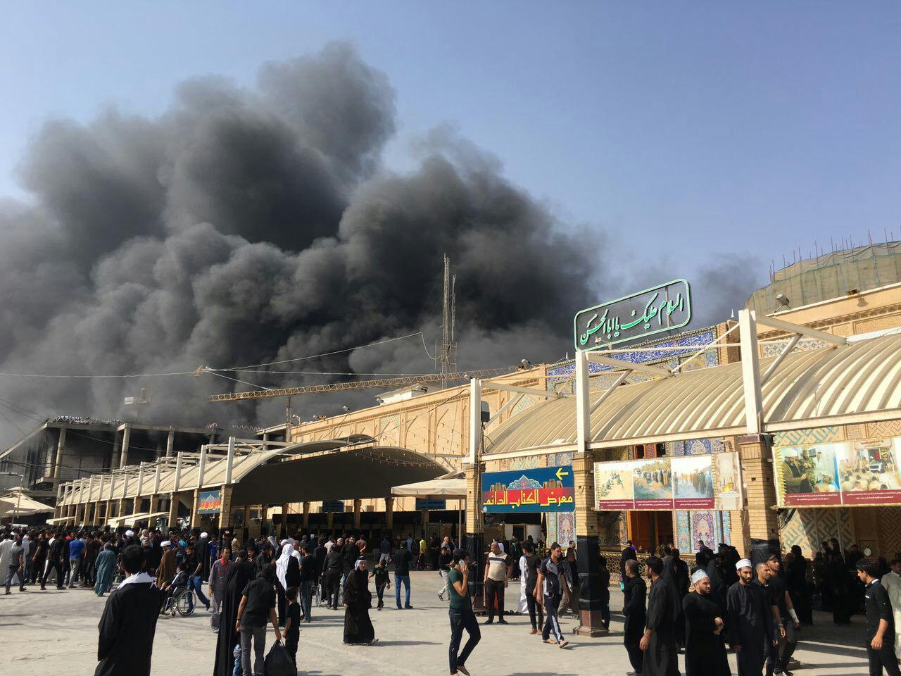 بخشی از صحن جدید حرم حضرت علی (ع) دچار حریق شد + تصاویر