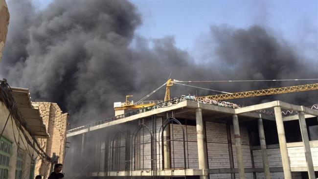 تصاویری از آتش سوزی در صحن جدید حرم حضرت علی (ع)