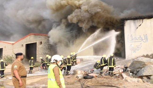 3 انبار در مکه مکرمه دچار آتش سوزی شدند
