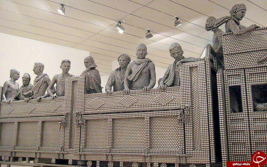 ساخت مجسمه با میلیون ها ساچمه