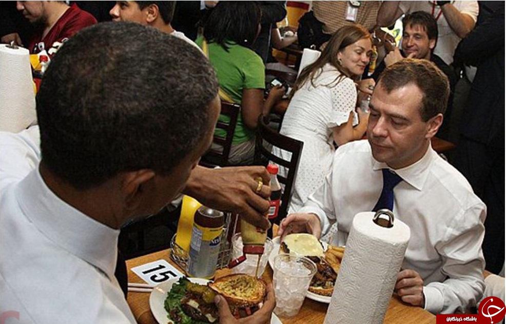 مدودف مهمان اوباما به صرف همبرگر + تصاویر