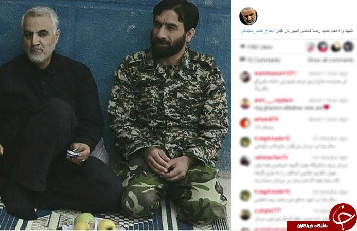 شهید مدافع حرم در کنار سردار سلیمانی +عکس