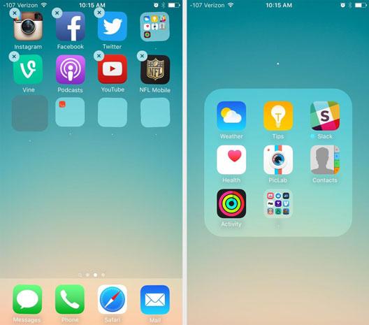 قرار دادن پوشه ها در یکدیگر در iOS