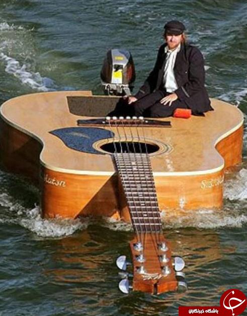 گیتار سواری روی آب  + عکس
