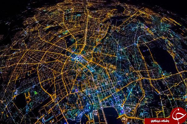 تصاویر هوایی شهرها در شب + آلبوم تصاویر