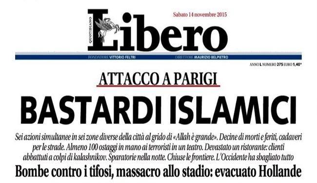 توهین روزنامه ایتالیایی به مسلمانان پس از حملات پاریس+ عکس روزنامه