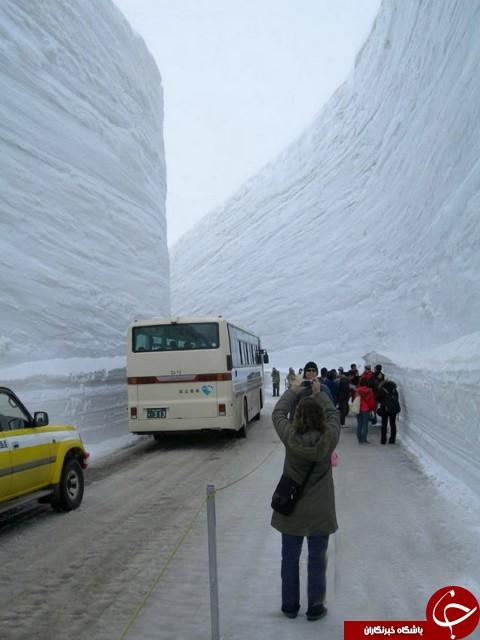 جاده ای در عمق 20 متری برف+ عکس