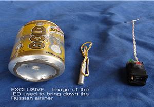داعش تصویر بمبی که باعث انفجار هواپیمای روسیه شد را منتشر کرد