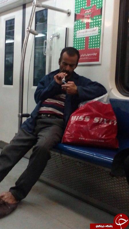 مصرف مواد مخدر در مترو تهران + عکس