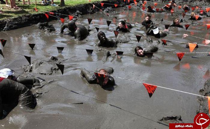 مسابقات شنا در لجن + عکس